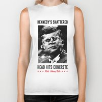 jfk Biker Tanks featuring Misfits JFK Poster Series - Head Hits Concrete by Robert John Paterson
