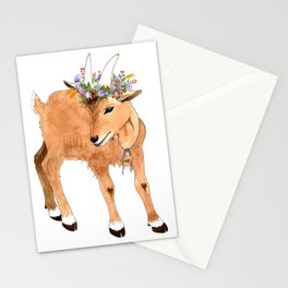 Kid Goat with Flowers Stationery Cards