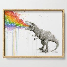 T-Rex Dinosaur Rainbow Puke Taste the Rainbow Watercolor Serving Tray