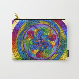 Psychedelic Dragons Rainbow Spirals Mandala Carry-All Pouch