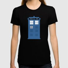 TARDIS Under the Sea - Doctor Who Digital Watercolor Black Womens Fitted Tee X-LARGE