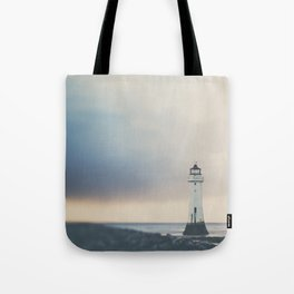 the lights will guide you home ... lighthouse photograph Tote Bag