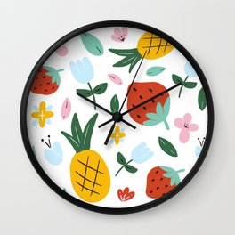 Strawberry and Pineapple hand-painted Wall Clock