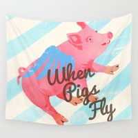 pigs Wall Tapestries featuring When Pigs Fly by Josh Franke