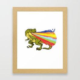 Cool Dinosaur Shooting Rainbow Laser Dino Fan Design Framed Art Print