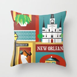 New Orleans, Louisiana - Collage Illustration by Loose Petals Throw Pillow