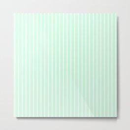 White Pinstripe on Summermint Green Metal Print