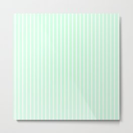 White Pinstripe on Summermint Green Metal Print