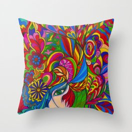 Multi Colored Muse Throw Pillow