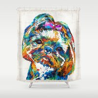 shih tzu Shower Curtains featuring Colorful Shih Tzu Dog Art By Sharon Cummings by Sharon Cummings