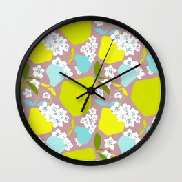 Pears + Pear Blossoms Wall Clock