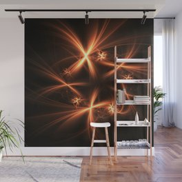 Orange abstract fractal as firework. Holiday theme. Wall Mural