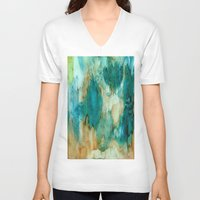 waterfall V-neck T-shirts featuring Waterfall by Rosie Brown