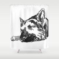 german shepherd Shower Curtains featuring German shepherd -1 by Jenn Steffey