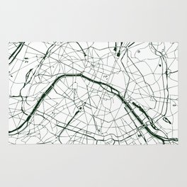 Paris France Minimal Street Map - Forest Green and White Rug