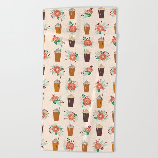 Coffee floral bouquet coffee lovers java bean cute pattern print for kitchen Beach Towel