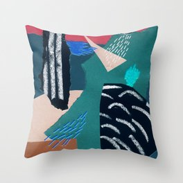 paper collage with embroidery Throw Pillow