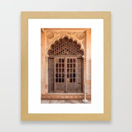 Wooden stained glass door at Jodhpur Fort, India Framed Art Print