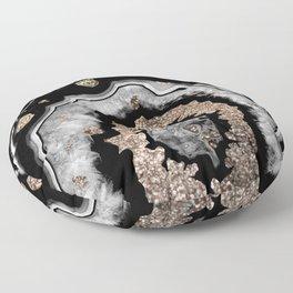 Gray Black White Agate with Gold Glitter on Black #1 #gem #decor #art #society6 Floor Pillow