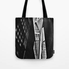 Manhattan Canyon Skyline - Wall Street lithograph by Arnold Ronnebeck Tote Bag