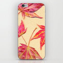 Japanese maple leaves - coral red on pale yellow iPhone Skin