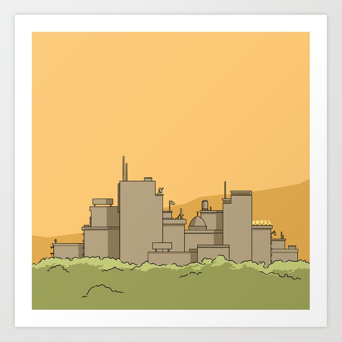 A city with a hotel Art Print