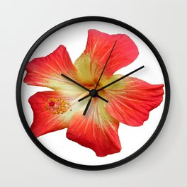 Gorgeous Red And Gold Hawaiian Hibiscus Flower No Text Wall Clock