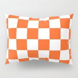 Cheerful Orange Checkerboard Pillow Sham