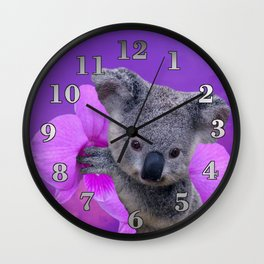 Koala and Orchid Wall Clock