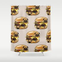pugs Shower Curtains featuring Pugs Burger by Huebucket