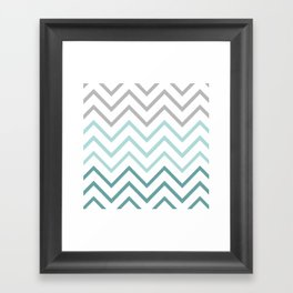 THIN TEAL CHEVRON FADE  Framed Art Print