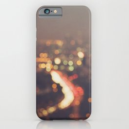 Los Angeles at night photo. Abstract Mulholland iPhone Case