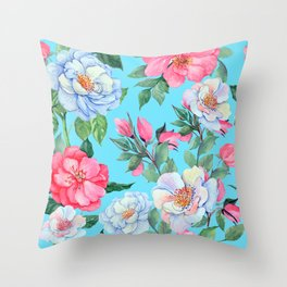 Pink and Blue Floral Print On Aqua Background Throw Pillow