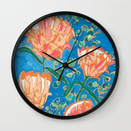 Four Orange Proteas Wall Clock