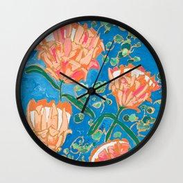 Four Orange Proteas Wall Clock