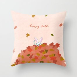 Happy Fall // Bunny in Snorkel Throw Pillow