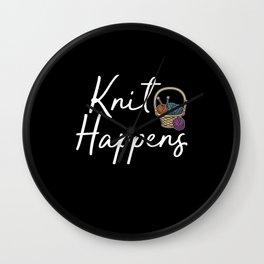 knit happens Wall Clock