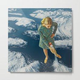Spraying snow on the mountains Metal Print