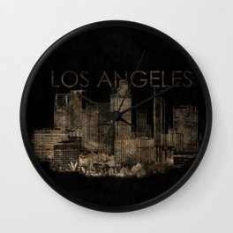 Los Angeles city skyline Sketch Gold and Black Wall Clock