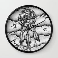 dream catcher Wall Clocks featuring Dream catcher by DeMoose_Art