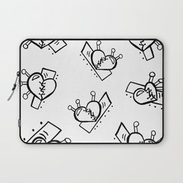 Hearts with Stitches - Black Outline Laptop Sleeve