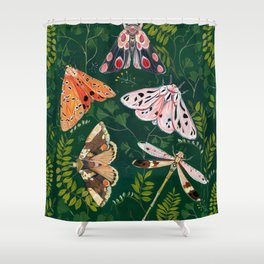 Moths and dragonfly Shower Curtain