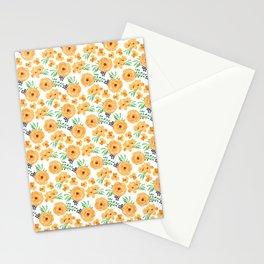 Orange Green Floral Pattern Stationery Cards
