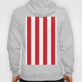 Vertical Stripes - White and Fire Engine Red Hoody