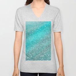 Aqua Teal Ocean Glitter #1 #shiny #decor #art #society6 Unisex V-Neck