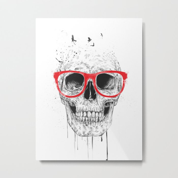Skull with red glasses Metal Print
