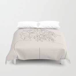 Woman with Flowers Minimal Line I Duvet Cover