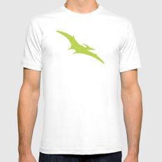 Pterodactyl Dinosaur Green White MEDIUM Mens Fitted Tee