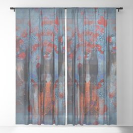 Abstract three women Sheer Curtain