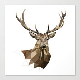 Geometric deer Woodland art Forest animals Brown and gray Canvas Print